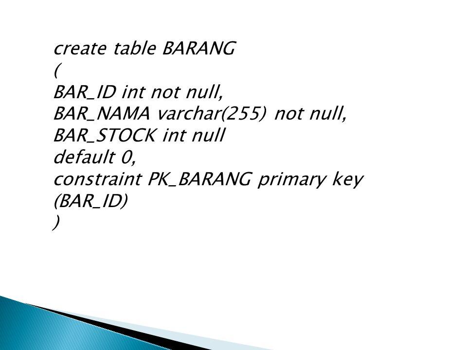 create table BARANG ( BAR_ID int not null, BAR_NAMA varchar(255) not null, BAR_STOCK int null default 0, constraint PK_BARANG primary key (BAR_ID) )