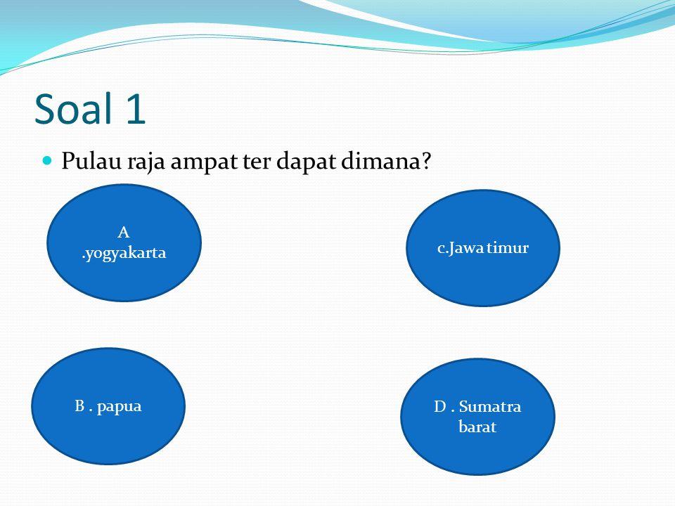 Soal 1 Pulau raja ampat ter dapat dimana? A.yogyakarta D. Sumatra barat c.Jawa timur B. papua