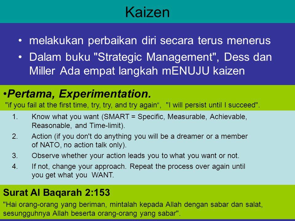 Kaizen melakukan perbaikan diri secara terus menerus Dalam buku