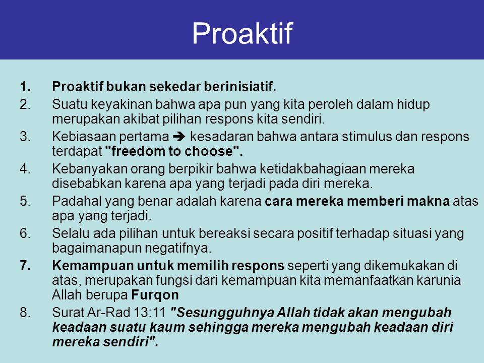 Proaktif 1.Proaktif bukan sekedar berinisiatif. 2.Suatu keyakinan bahwa apa pun yang kita peroleh dalam hidup merupakan akibat pilihan respons kita se