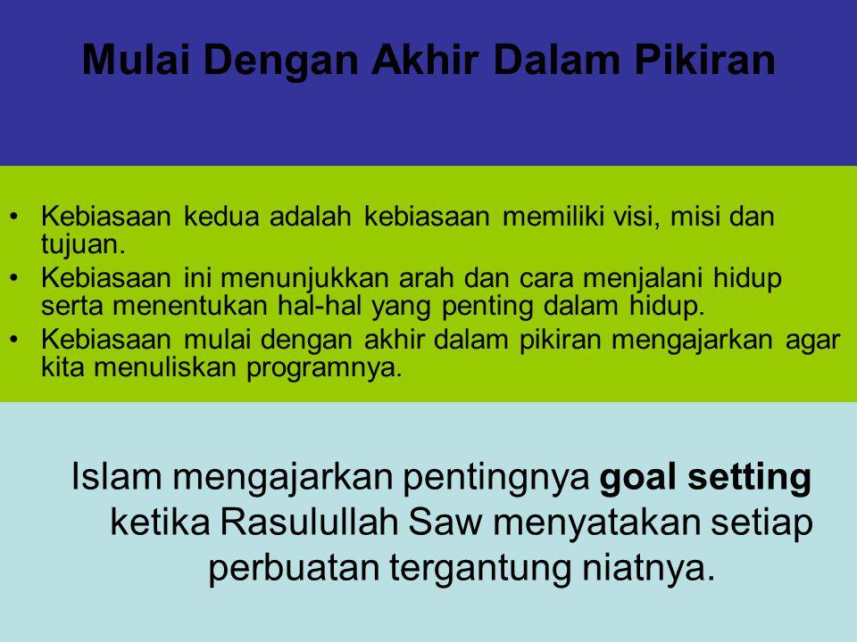 Mulai Dengan Akhir Dalam Pikiran Kebiasaan kedua adalah kebiasaan memiliki visi, misi dan tujuan. Kebiasaan ini menunjukkan arah dan cara menjalani hi