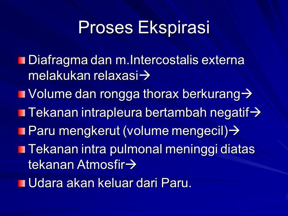 Proses Ekspirasi Diafragma dan m.Intercostalis externa melakukan relaxasi  Volume dan rongga thorax berkurang  Tekanan intrapleura bertambah negatif