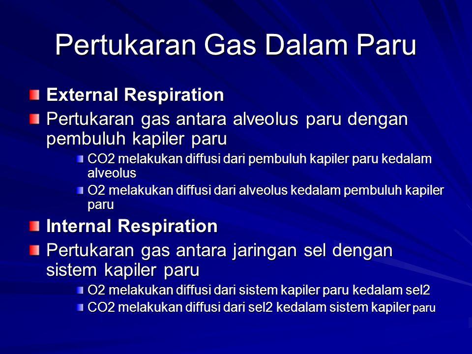 Pertukaran Gas Dalam Paru External Respiration Pertukaran gas antara alveolus paru dengan pembuluh kapiler paru CO2 melakukan diffusi dari pembuluh ka