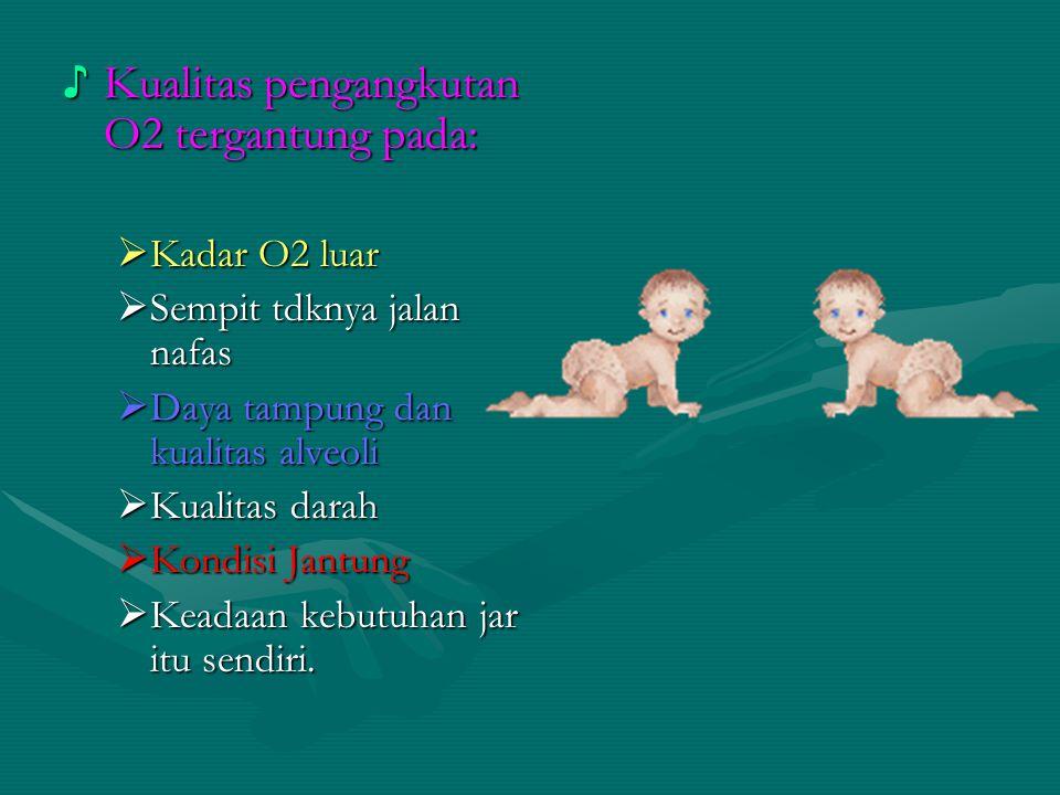 ♪ Kualitas pengangkutan O2 tergantung pada:  Kadar O2 luar  Sempit tdknya jalan nafas  Daya tampung dan kualitas alveoli  Kualitas darah  Kondisi