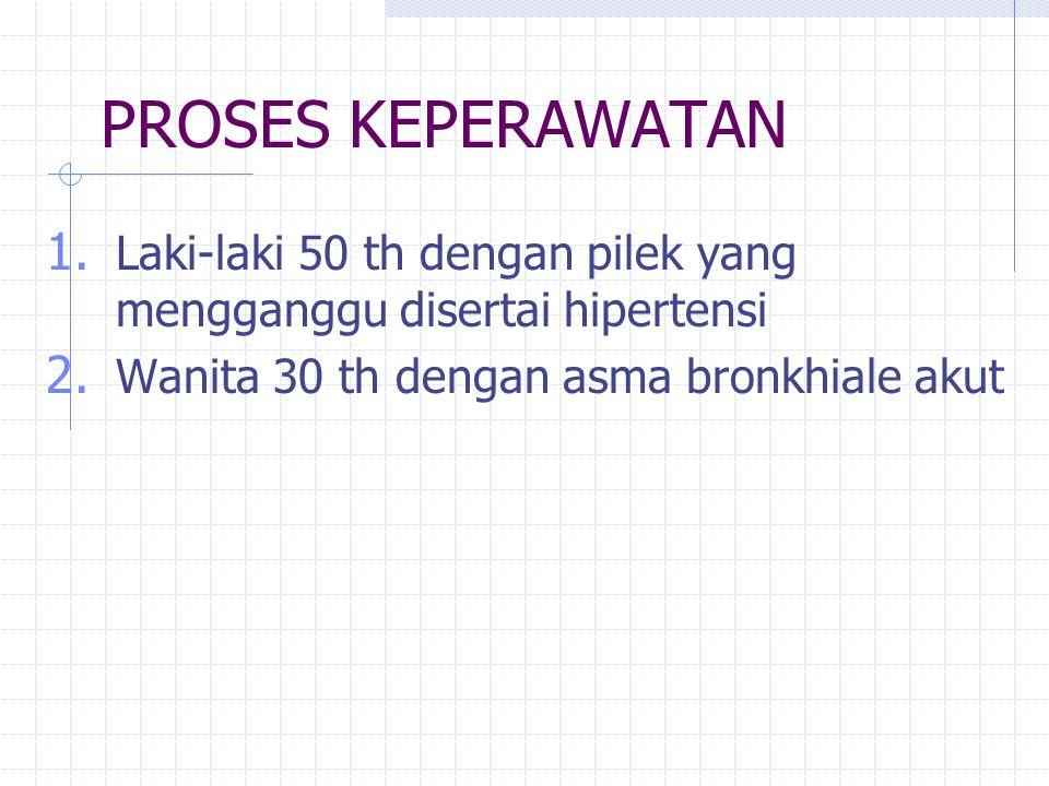 PROSES KEPERAWATAN 1. Laki-laki 50 th dengan pilek yang mengganggu disertai hipertensi 2. Wanita 30 th dengan asma bronkhiale akut