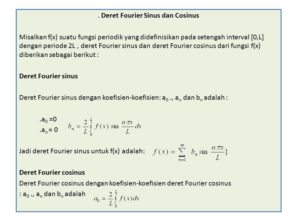 . Deret Fourier Sinus dan Cosinus Misalkan f(x) suatu fungsi periodik yang didefinisikan pada setengah interval [0,L] dengan periode 2L, deret Fourier sinus dan deret Fourier cosinus dari fungsi f(x) diberikan sebagai berikut : Deret Fourier sinus Deret Fourier sinus dengan koefisien-koefisien: a 0., a n dan b n adalah :.a 0 =0.a n = 0 Jadi deret Fourier sinus untuk f(x) adalah: Deret Fourier cosinus Deret Fourier cosinus dengan koefisien-koefisien deret Fourier cosinus : a 0., a n dan b n adalah