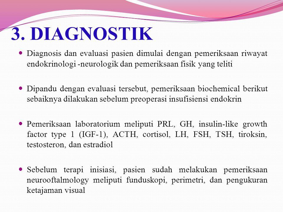 Con't -Insidental microadenoma sebaiknya diperiksa kadar prolaktin serum -Pasien dengan macroadenoma seharusnya dievaluasi untuk hipopituarismnya, khususnya defisiensi kortisol dan tiroid dan juga dievaluasi untuk tes lapang pandang -Rekomendasi adalah dengan menghilangkan tumor, tapi jika klinisi memilih untuk menterapi tumor, serial pencitraan dan tes lapang pandang harus dilakukan