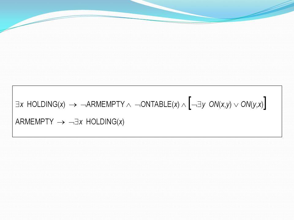  x HOLDING( x )   ARMEMPTY   ONTABLE( x )  [  y ON ( x, y )  ON ( y, x ) ] ARMEMPTY   x HOLDING( x )