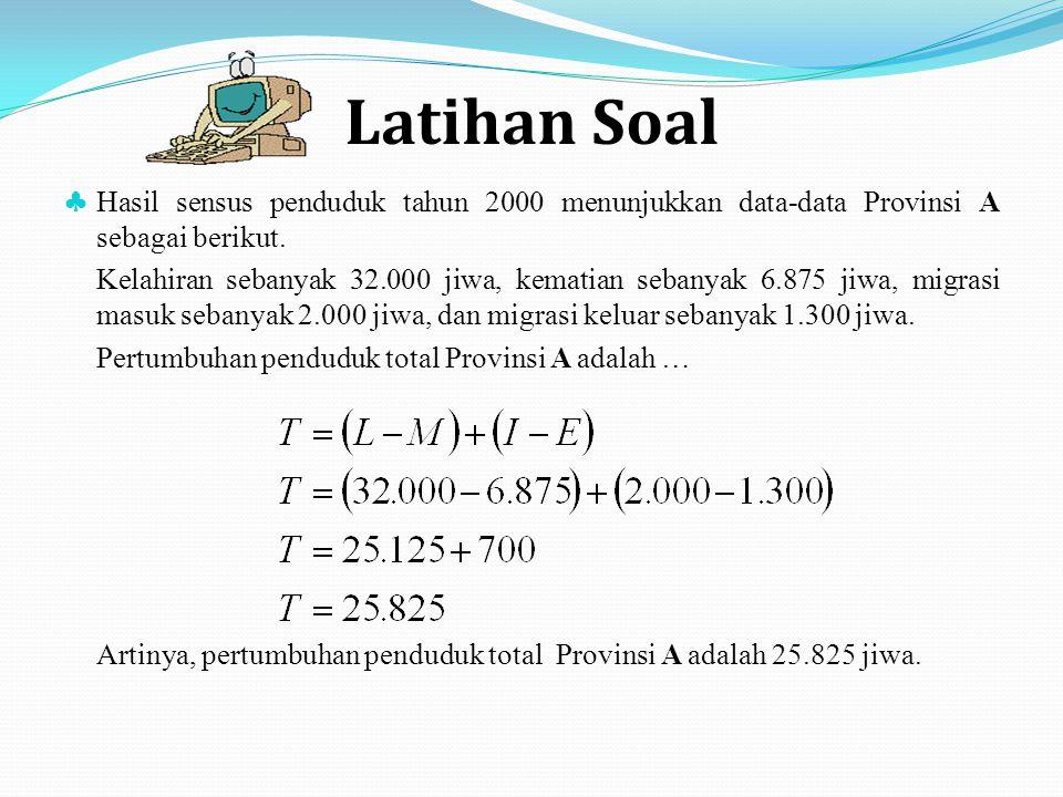 Latihan Soal ♣ Hasil sensus penduduk tahun 2000 menunjukkan data-data Provinsi A sebagai berikut. Kelahiran sebanyak 32.000 jiwa, kematian sebanyak 6.