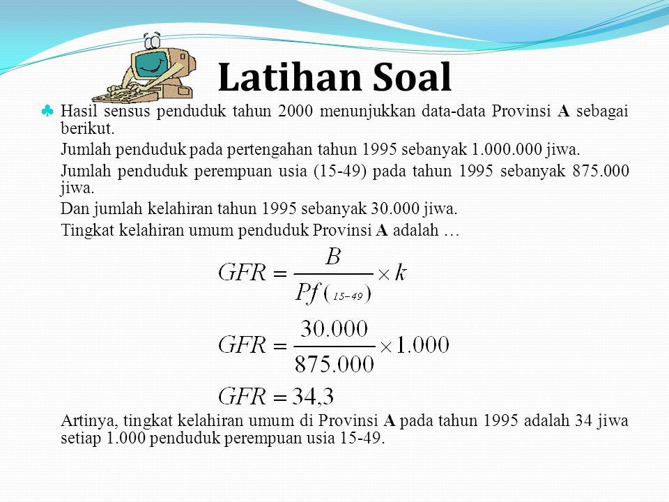 Latihan Soal ♣ Hasil sensus penduduk tahun 2000 menunjukkan data-data Provinsi A sebagai berikut. Jumlah penduduk pada pertengahan tahun 1995 sebanyak