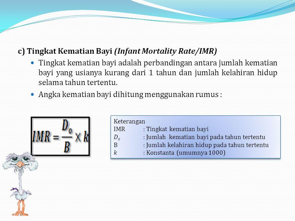 c)Tingkat Kematian Bayi (Infant Mortality Rate/IMR) Tingkat kematian bayi adalah perbandingan antara jumlah kematian bayi yang usianya kurang dari 1 tahun dan jumlah kelahiran hidup selama tahun tertentu.