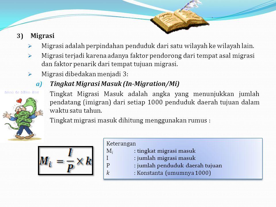 3) Migrasi  Migrasi adalah perpindahan penduduk dari satu wilayah ke wilayah lain.  Migrasi terjadi karena adanya faktor pendorong dari tempat asal