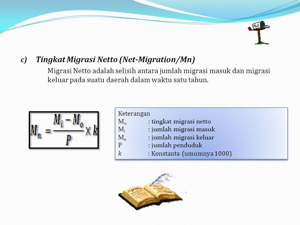c) Tingkat Migrasi Netto (Net-Migration/Mn) Migrasi Netto adalah selisih antara jumlah migrasi masuk dan migrasi keluar pada suatu daerah dalam waktu satu tahun.