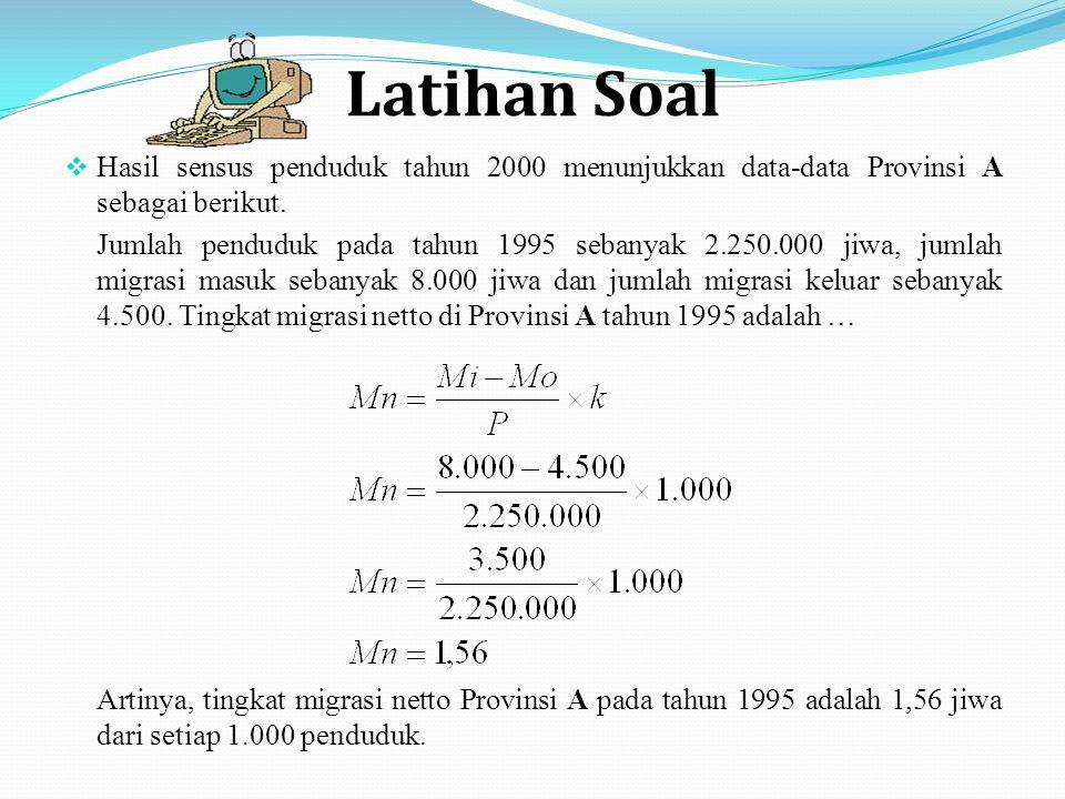 Latihan Soal  Hasil sensus penduduk tahun 2000 menunjukkan data-data Provinsi A sebagai berikut.