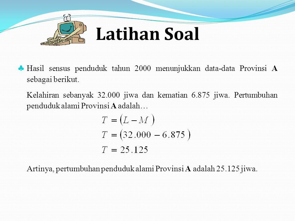 Latihan Soal ♣ Hasil sensus penduduk tahun 2000 menunjukkan data-data Provinsi A sebagai berikut. Kelahiran sebanyak 32.000 jiwa dan kematian 6.875 ji