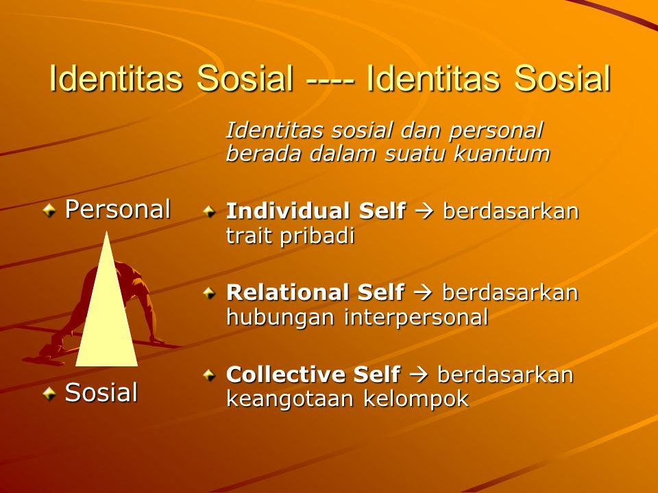 Identitas Sosial ---- Identitas Sosial PersonalSosial Identitas sosial dan personal berada dalam suatu kuantum Individual Self  berdasarkan trait pribadi Relational Self  berdasarkan hubungan interpersonal Collective Self  berdasarkan keangotaan kelompok