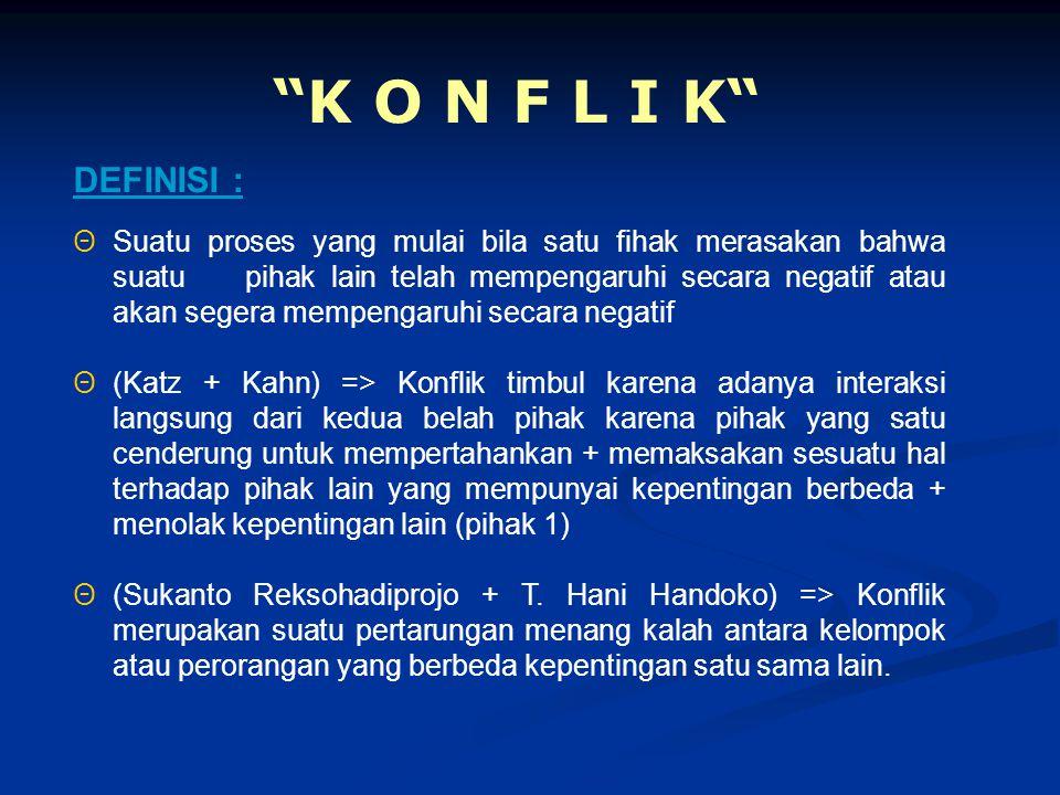"""""""K O N F L I K"""" ΘSuatu proses yang mulai bila satu fihak merasakan bahwa suatu pihak lain telah mempengaruhi secara negatif atau akan segera mempengar"""