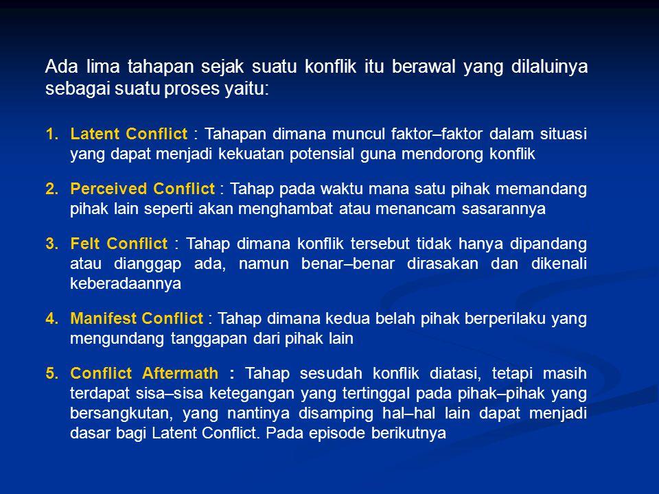 Ada lima tahapan sejak suatu konflik itu berawal yang dilaluinya sebagai suatu proses yaitu: 1.Latent Conflict : Tahapan dimana muncul faktor–faktor d