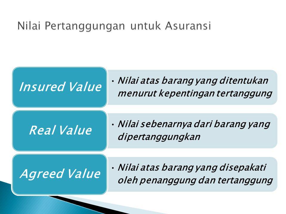 Nilai atas barang yang ditentukan menurut kepentingan tertanggung Insured Value Nilai sebenarnya dari barang yang dipertanggungkan Real Value Nilai atas barang yang disepakati oleh penanggung dan tertanggung Agreed Value