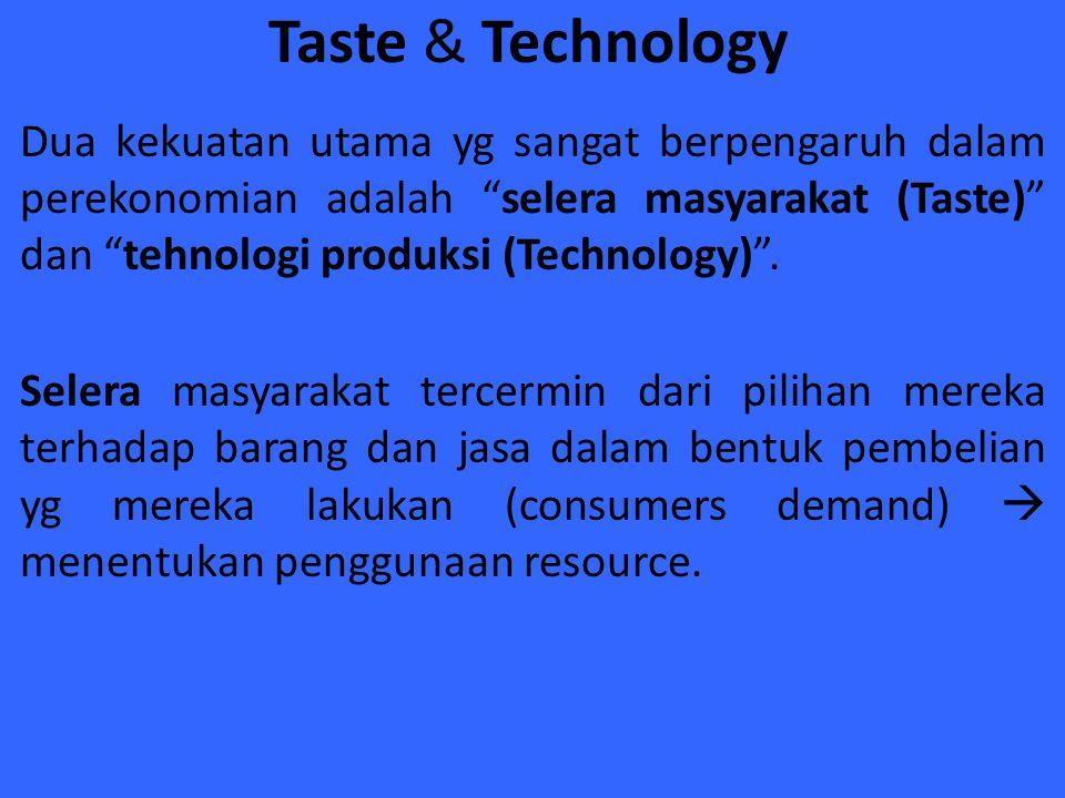 """Taste & Technology Dua kekuatan utama yg sangat berpengaruh dalam perekonomian adalah """"selera masyarakat (Taste)"""" dan """"tehnologi produksi (Technology)"""