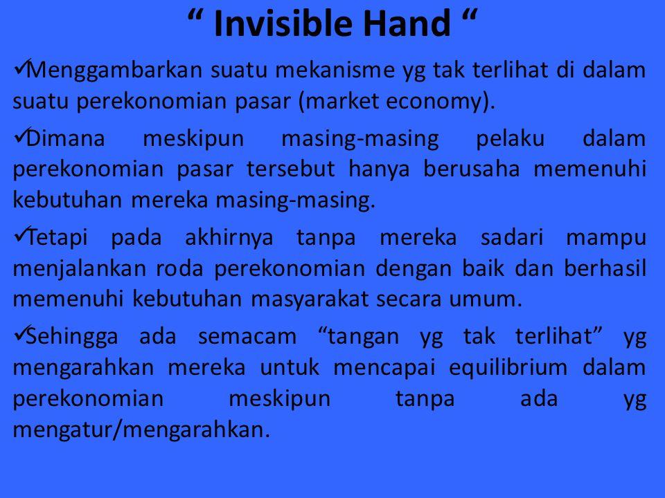 """"""" Invisible Hand """" Menggambarkan suatu mekanisme yg tak terlihat di dalam suatu perekonomian pasar (market economy). Dimana meskipun masing-masing pel"""