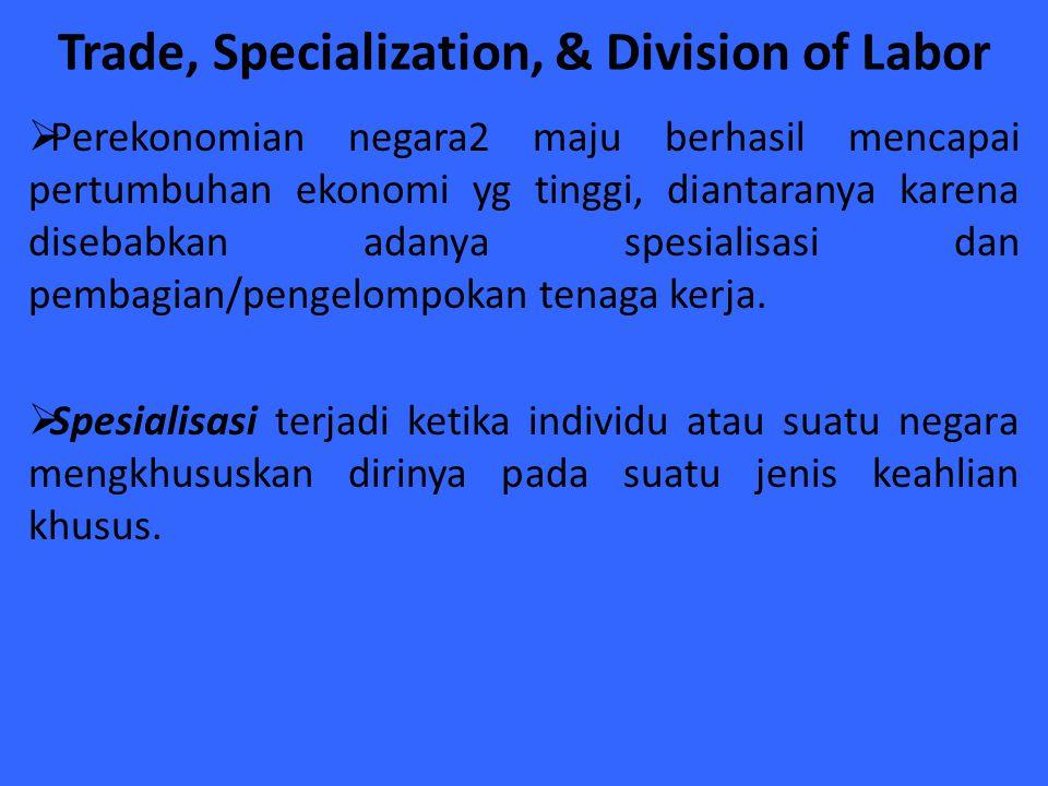 Trade, Specialization, & Division of Labor  Perekonomian negara2 maju berhasil mencapai pertumbuhan ekonomi yg tinggi, diantaranya karena disebabkan