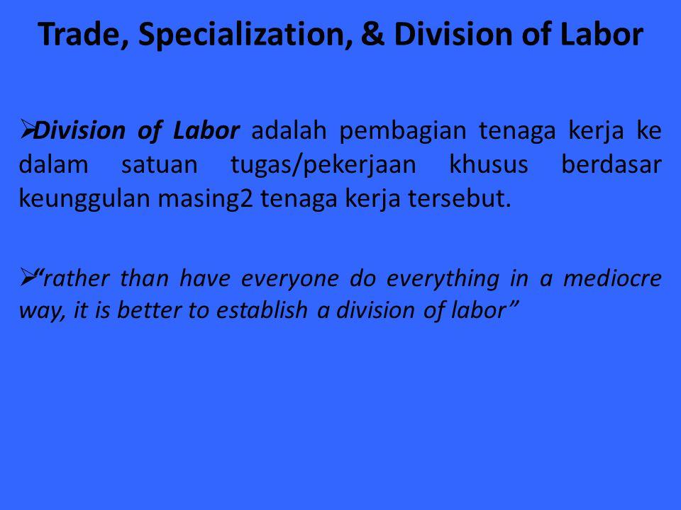 Trade, Specialization, & Division of Labor  Division of Labor adalah pembagian tenaga kerja ke dalam satuan tugas/pekerjaan khusus berdasar keunggula