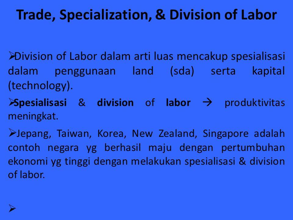 Trade, Specialization, & Division of Labor  Division of Labor dalam arti luas mencakup spesialisasi dalam penggunaan land (sda) serta kapital (techno