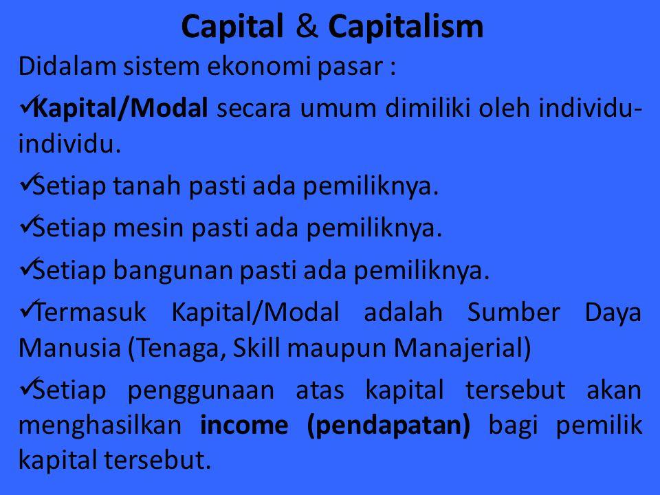 Capital & Capitalism Didalam sistem ekonomi pasar : Kapital/Modal secara umum dimiliki oleh individu- individu. Setiap tanah pasti ada pemiliknya. Set