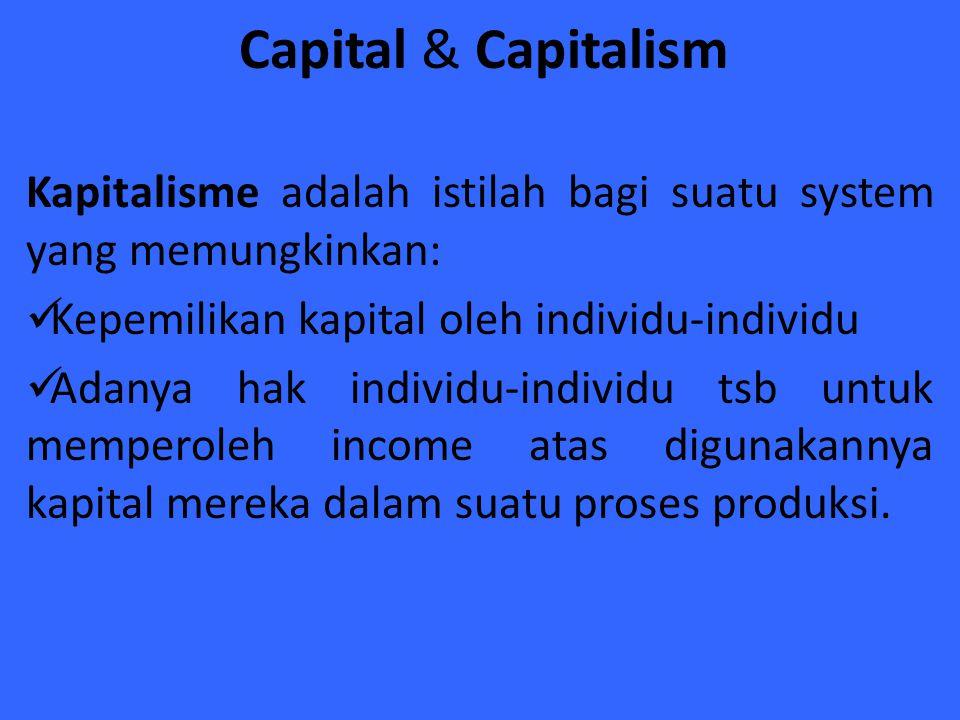 Capital & Capitalism Kapitalisme adalah istilah bagi suatu system yang memungkinkan: Kepemilikan kapital oleh individu-individu Adanya hak individu-in