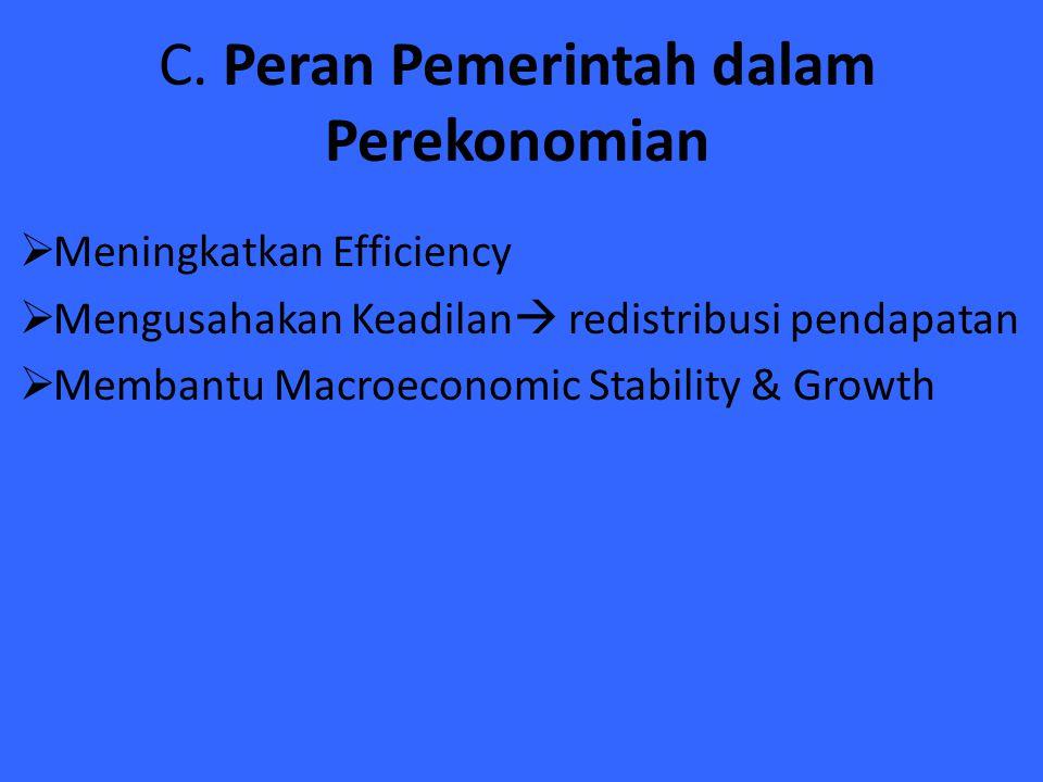 C. Peran Pemerintah dalam Perekonomian  Meningkatkan Efficiency  Mengusahakan Keadilan  redistribusi pendapatan  Membantu Macroeconomic Stability