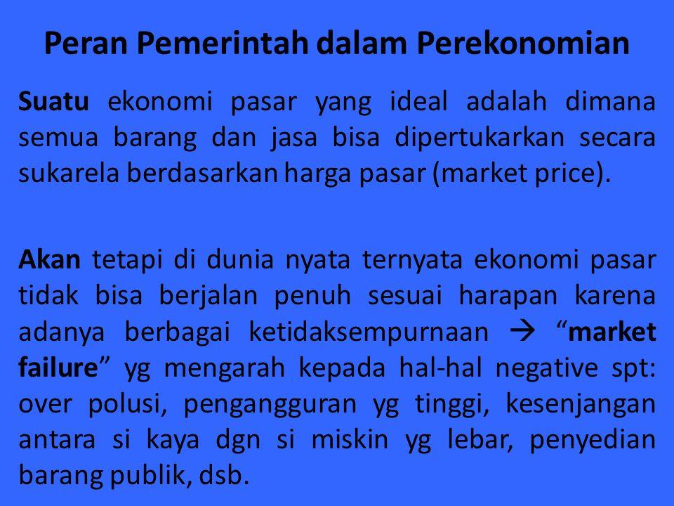 Peran Pemerintah dalam Perekonomian Suatu ekonomi pasar yang ideal adalah dimana semua barang dan jasa bisa dipertukarkan secara sukarela berdasarkan