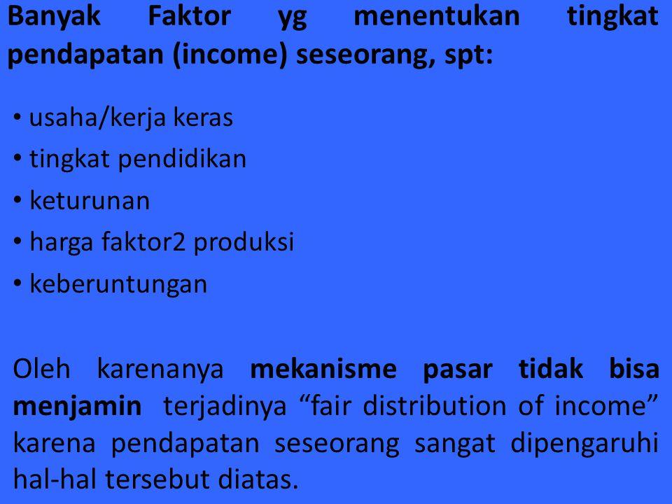 Banyak Faktor yg menentukan tingkat pendapatan (income) seseorang, spt: usaha/kerja keras tingkat pendidikan keturunan harga faktor2 produksi keberunt