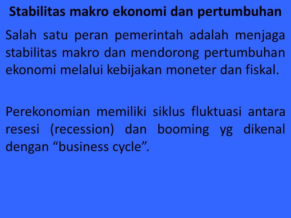 Stabilitas makro ekonomi dan pertumbuhan Salah satu peran pemerintah adalah menjaga stabilitas makro dan mendorong pertumbuhan ekonomi melalui kebijak