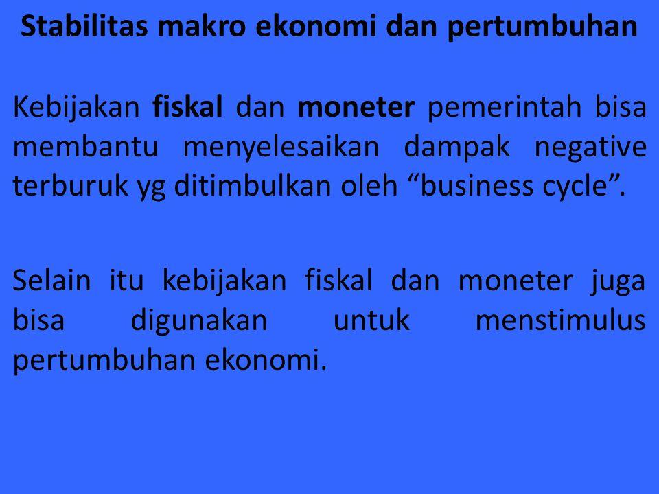 Stabilitas makro ekonomi dan pertumbuhan Kebijakan fiskal dan moneter pemerintah bisa membantu menyelesaikan dampak negative terburuk yg ditimbulkan o