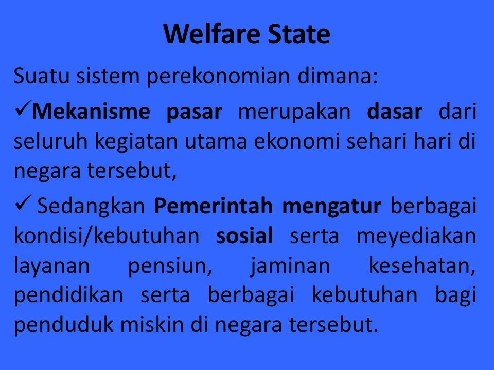 Welfare State Suatu sistem perekonomian dimana: Mekanisme pasar merupakan dasar dari seluruh kegiatan utama ekonomi sehari hari di negara tersebut, Se