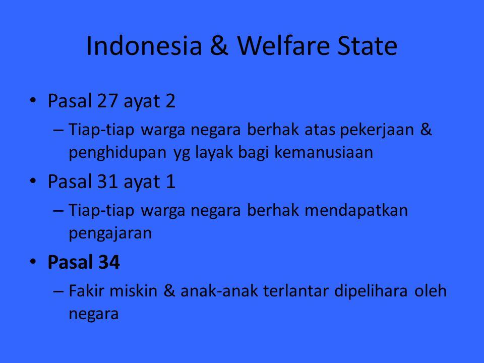 Indonesia & Welfare State Pasal 27 ayat 2 – Tiap-tiap warga negara berhak atas pekerjaan & penghidupan yg layak bagi kemanusiaan Pasal 31 ayat 1 – Tia