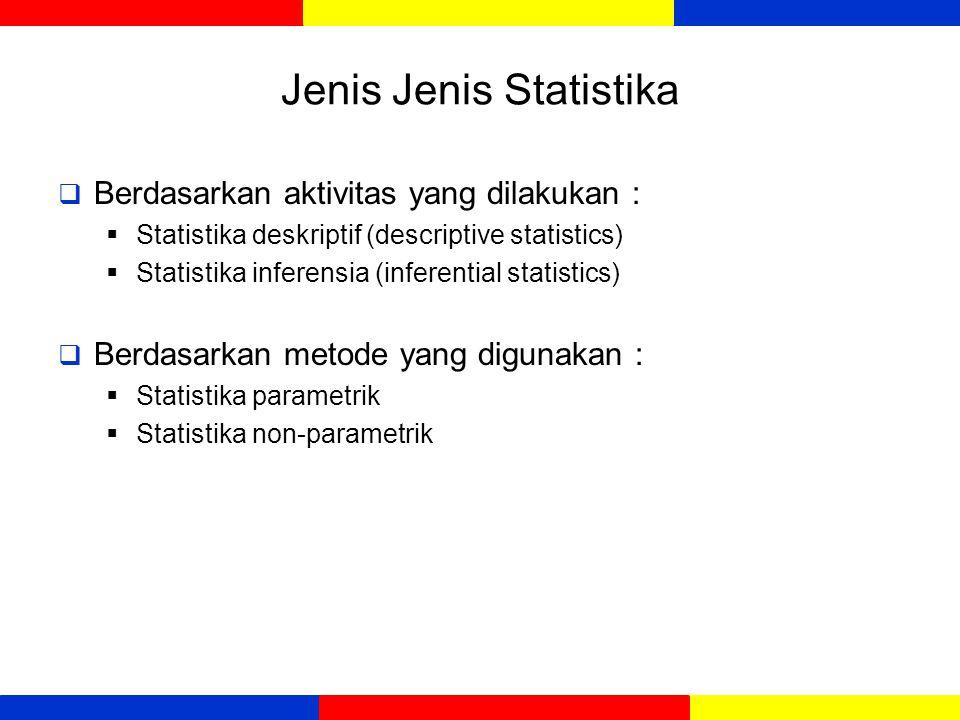 Jenis Jenis Statistika  Berdasarkan aktivitas yang dilakukan :  Statistika deskriptif (descriptive statistics)  Statistika inferensia (inferential