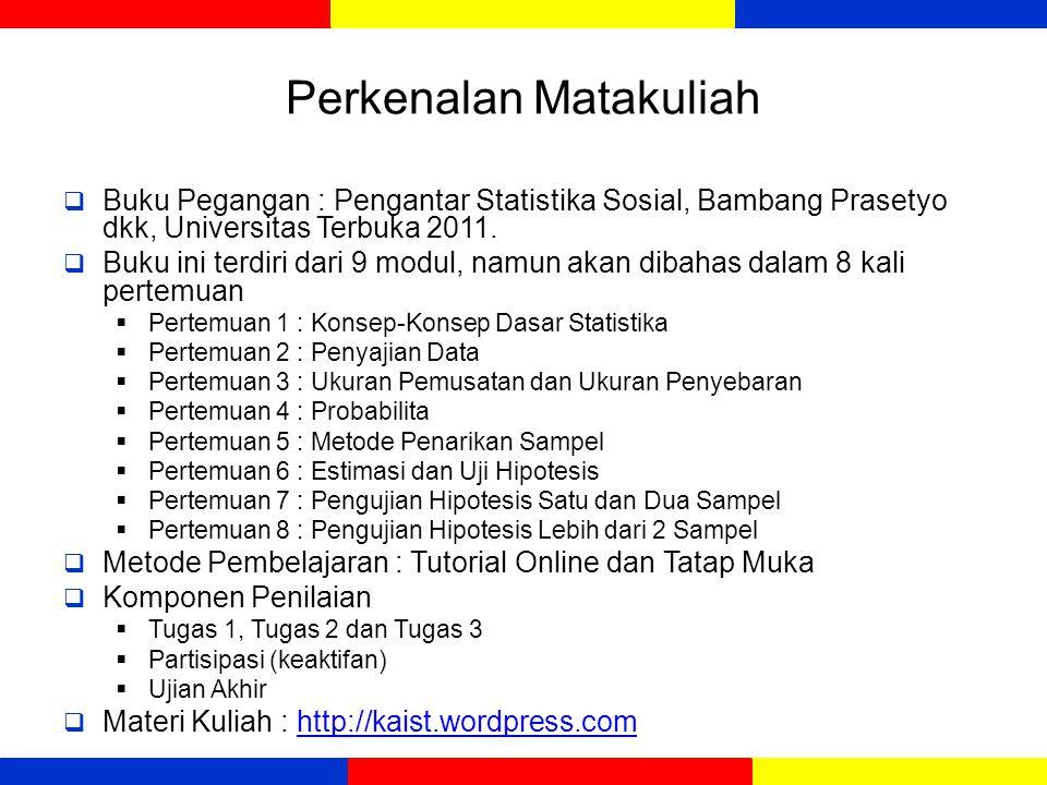 Perkenalan Matakuliah  Buku Pegangan : Pengantar Statistika Sosial, Bambang Prasetyo dkk, Universitas Terbuka 2011.  Buku ini terdiri dari 9 modul,