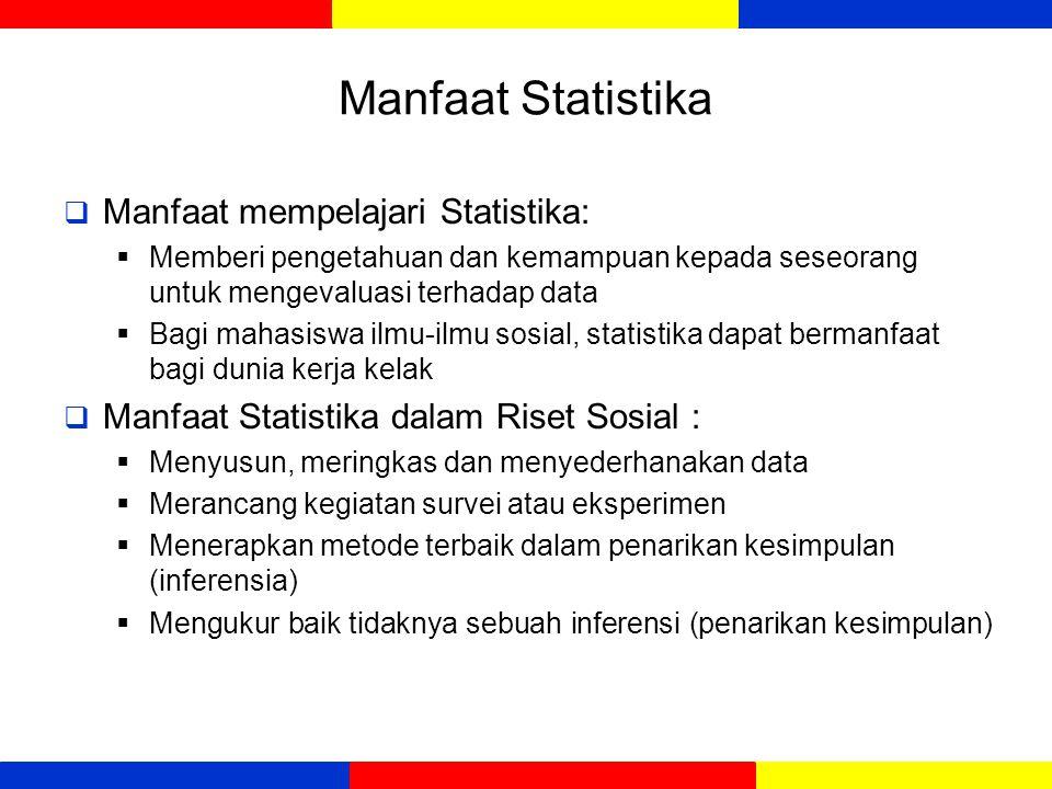 Manfaat Statistika  Manfaat mempelajari Statistika:  Memberi pengetahuan dan kemampuan kepada seseorang untuk mengevaluasi terhadap data  Bagi maha