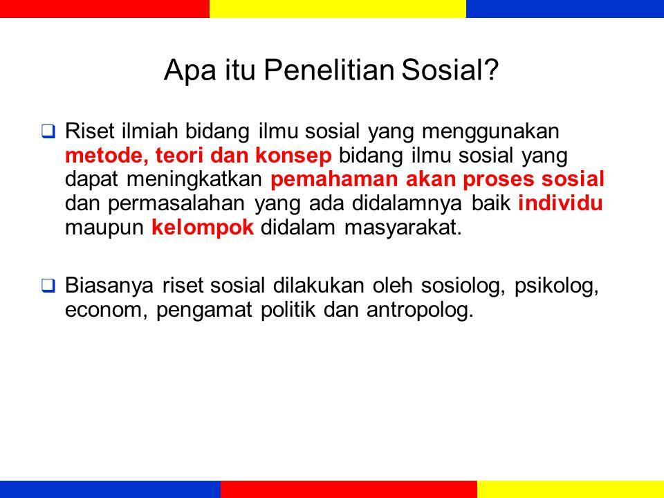 Apa itu Penelitian Sosial?  Riset ilmiah bidang ilmu sosial yang menggunakan metode, teori dan konsep bidang ilmu sosial yang dapat meningkatkan pema