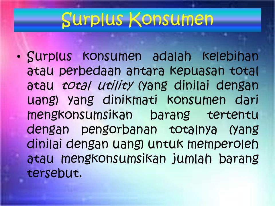 Surplus Konsumen Surplus konsumen adalah kelebihan atau perbedaan antara kepuasan total atau total utility (yang dinilai dengan uang) yang dinikmati konsumen dari mengkonsumsikan barang tertentu dengan pengorbanan totalnya (yang dinilai dengan uang) untuk memperoleh atau mengkonsumsikan jumlah barang tersebut.