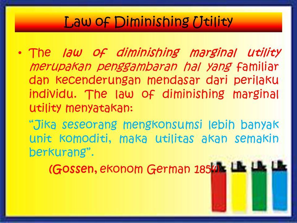 The law of diminishing marginal utility merupakan penggambaran hal yang familiar dan kecenderungan mendasar dari perilaku individu.