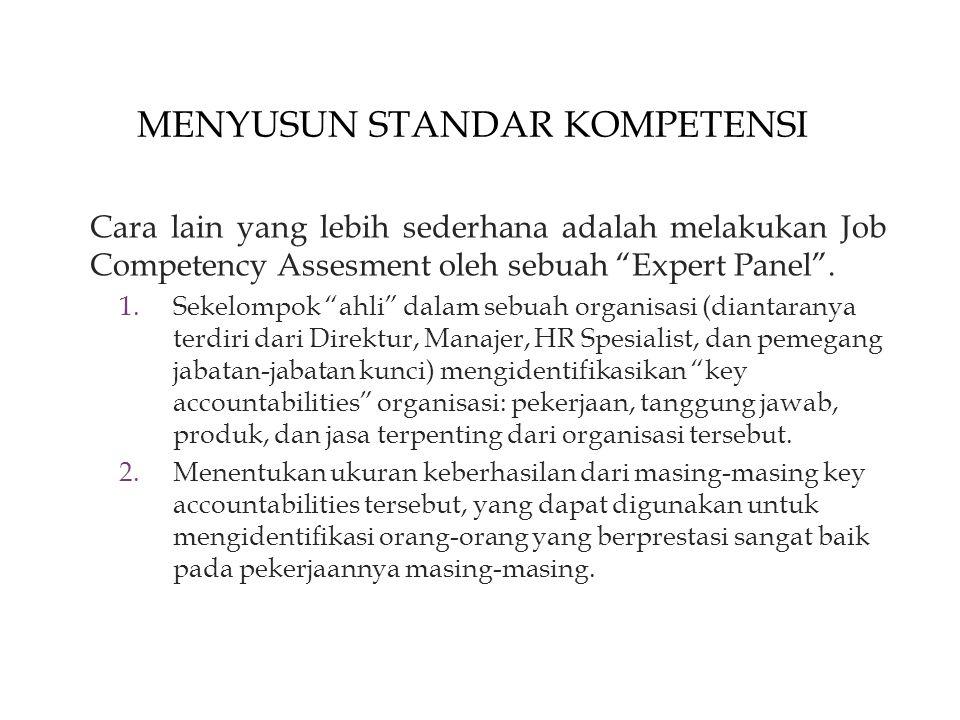 MENYUSUN STANDAR KOMPETENSI Cara lain yang lebih sederhana adalah melakukan Job Competency Assesment oleh sebuah Expert Panel .