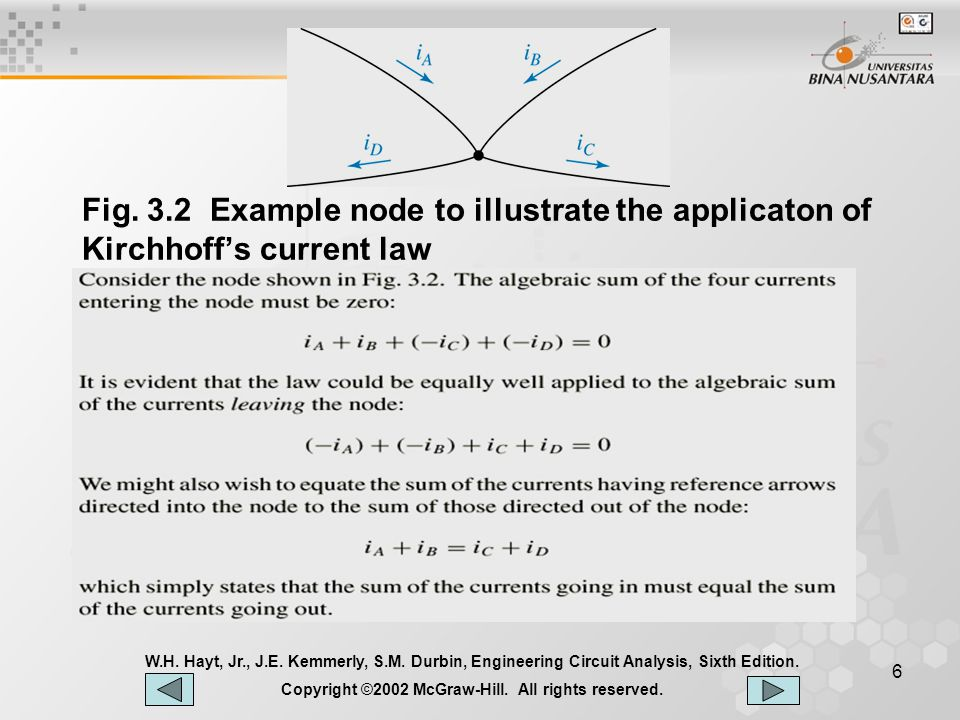 6 Fig.3.2 Example node to illustrate the applicaton of Kirchhoff's current law W.H.