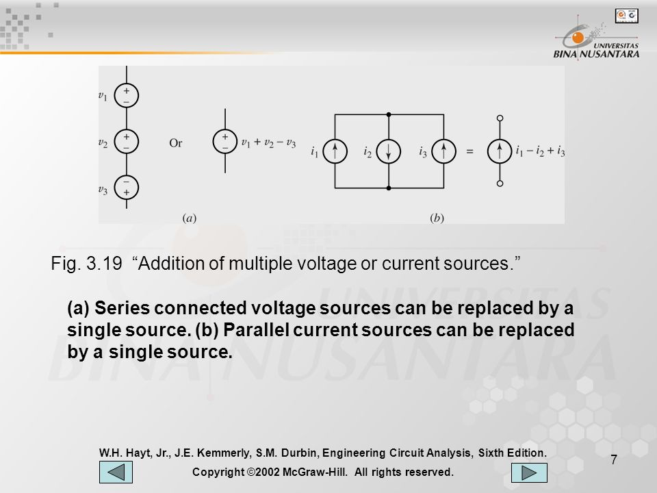 7 (a) Series connected voltage sources can be replaced by a single source.
