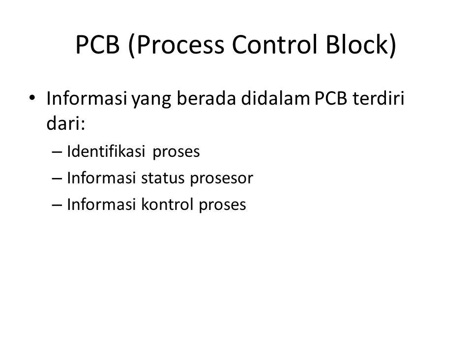 PCB (Process Control Block) Informasi yang berada didalam PCB terdiri dari: – Identifikasi proses – Informasi status prosesor – Informasi kontrol pros