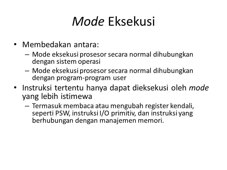 Mode Eksekusi Membedakan antara: – Mode eksekusi prosesor secara normal dihubungkan dengan sistem operasi – Mode eksekusi prosesor secara normal dihub