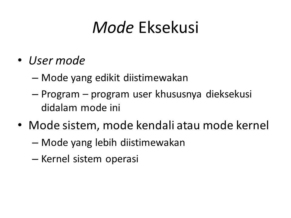 Mode Eksekusi User mode – Mode yang edikit diistimewakan – Program – program user khususnya dieksekusi didalam mode ini Mode sistem, mode kendali atau