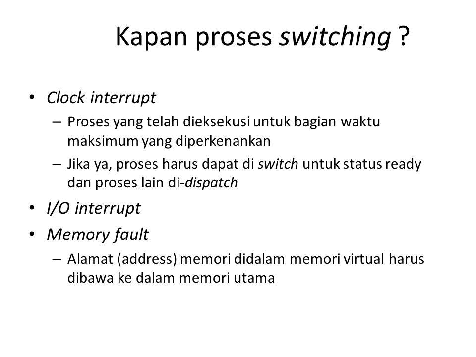 Kapan proses switching ? Clock interrupt – Proses yang telah dieksekusi untuk bagian waktu maksimum yang diperkenankan – Jika ya, proses harus dapat d